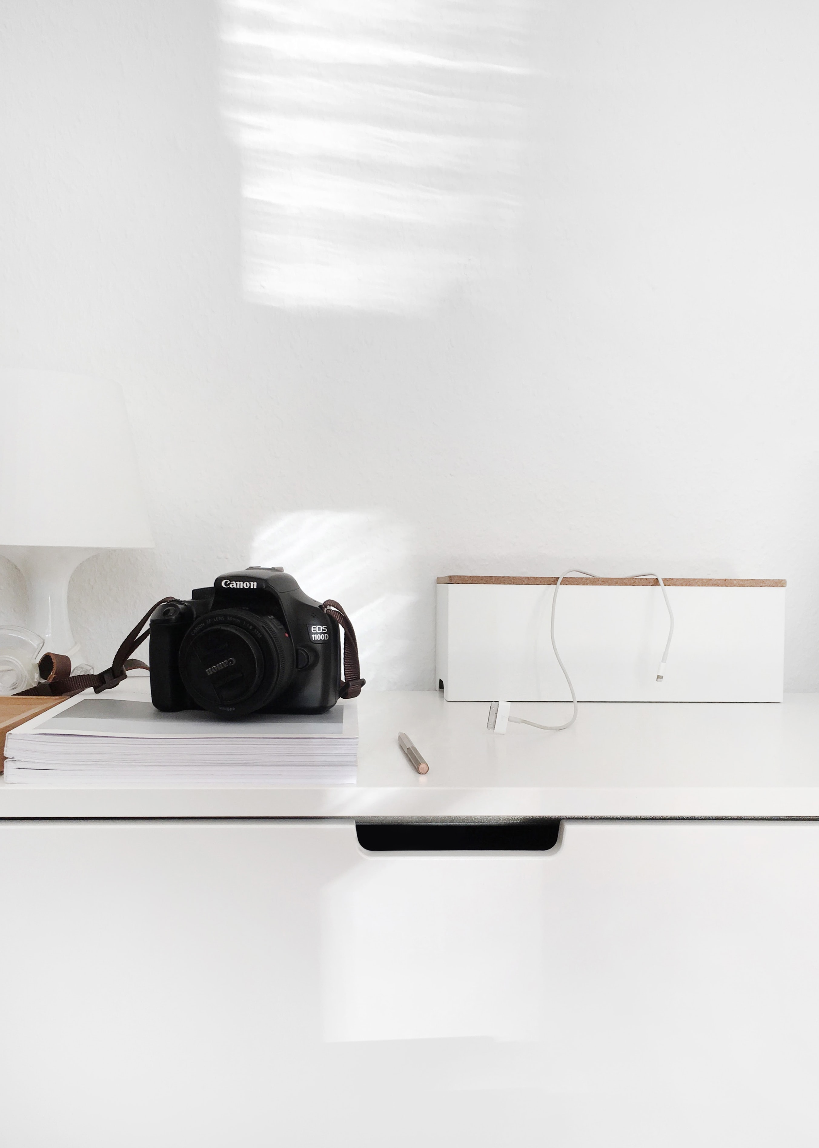 Canon DSLR camera on table