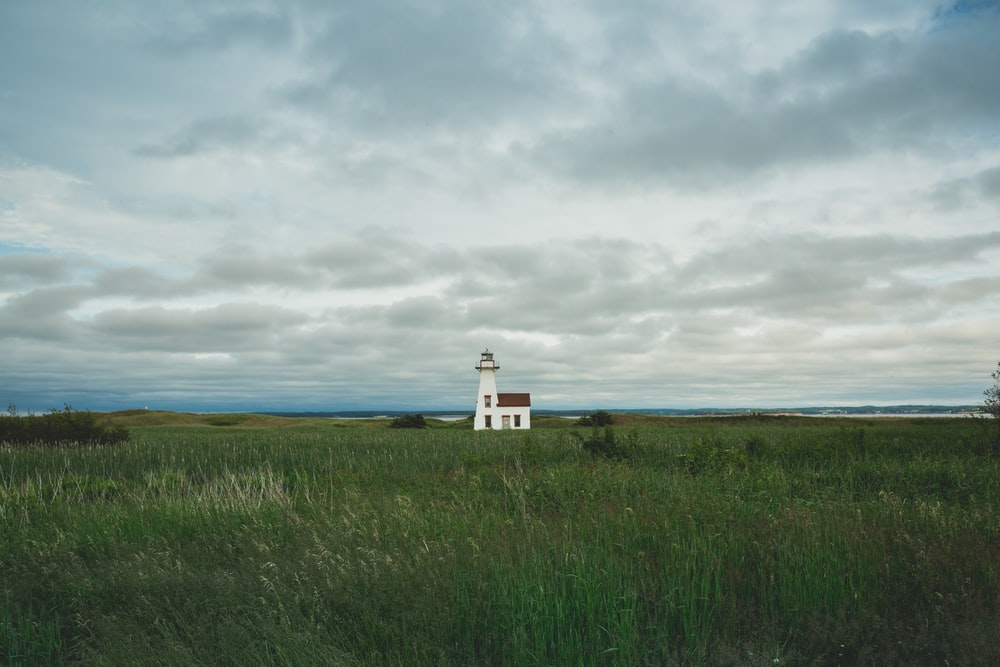 white lighthouse surrounded by grass field