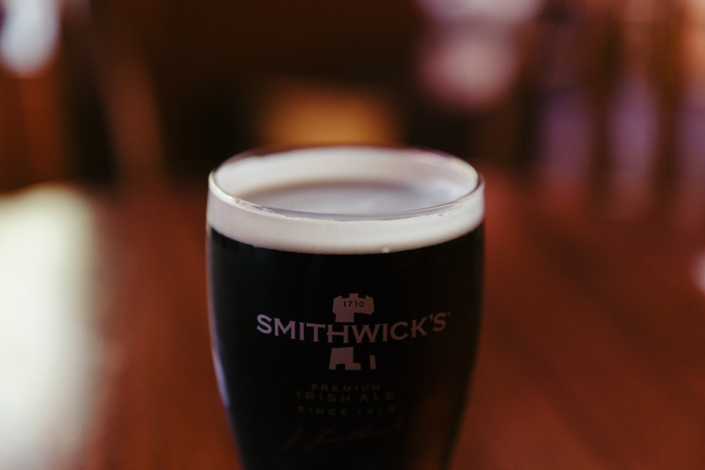 clear Smithwick's glass with coffee