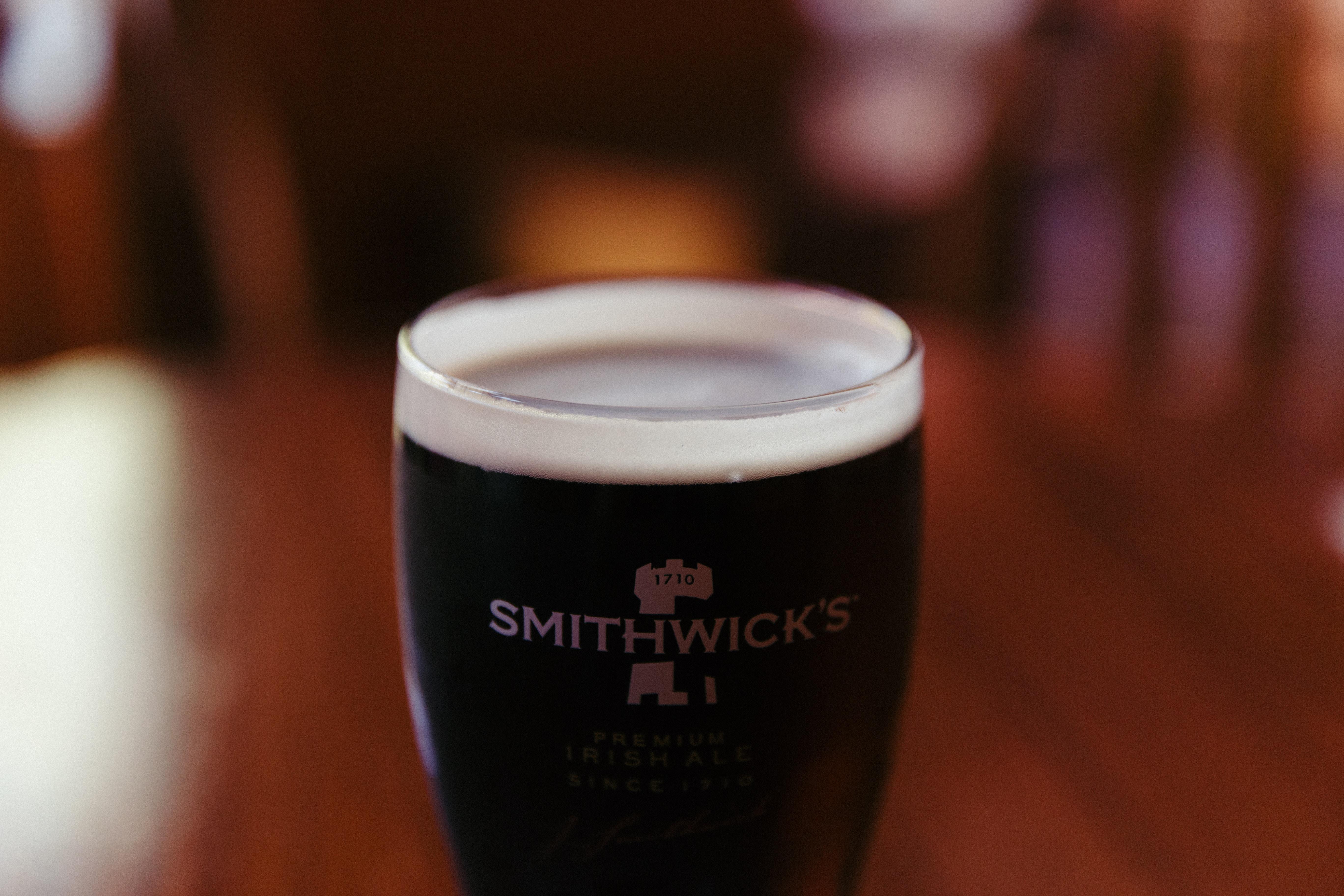 clear Smithwick's glass with coffee