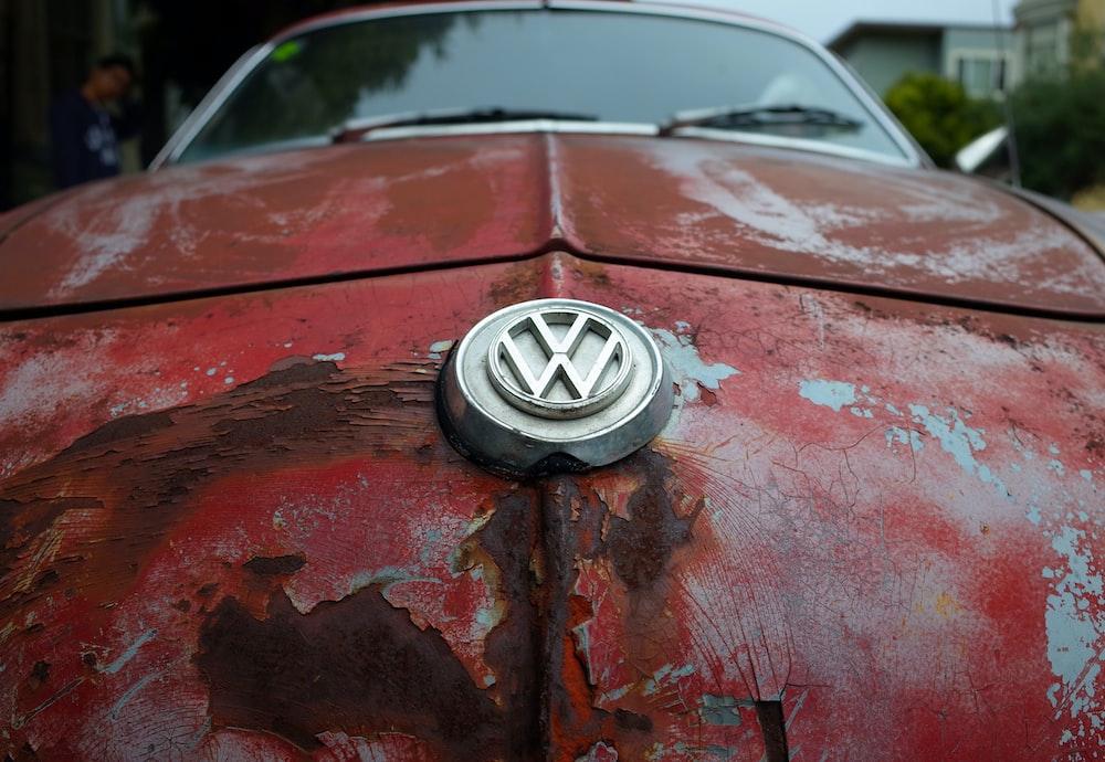 red Volkswagen car