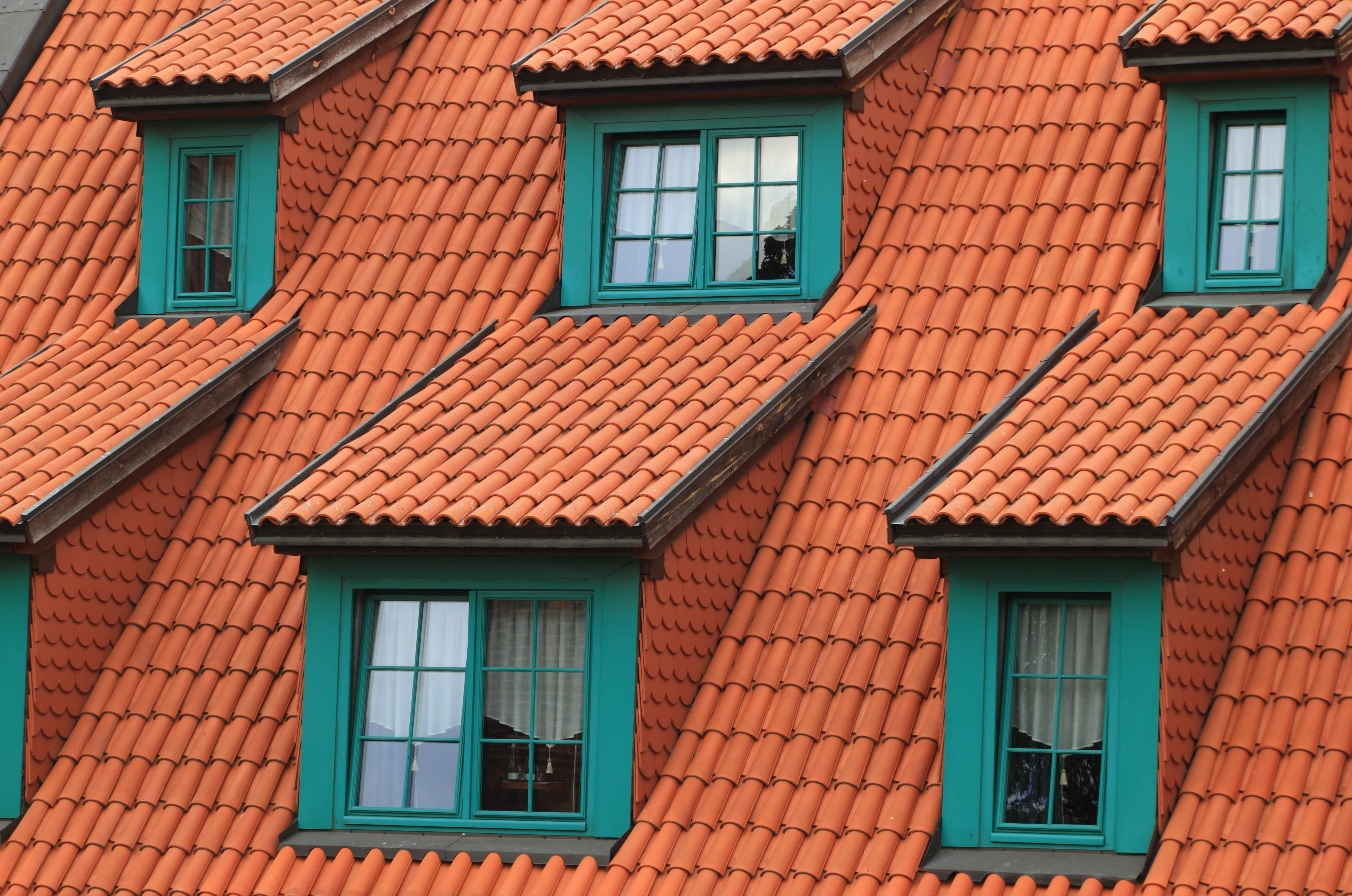 Orange rooftops with windows framed in green.