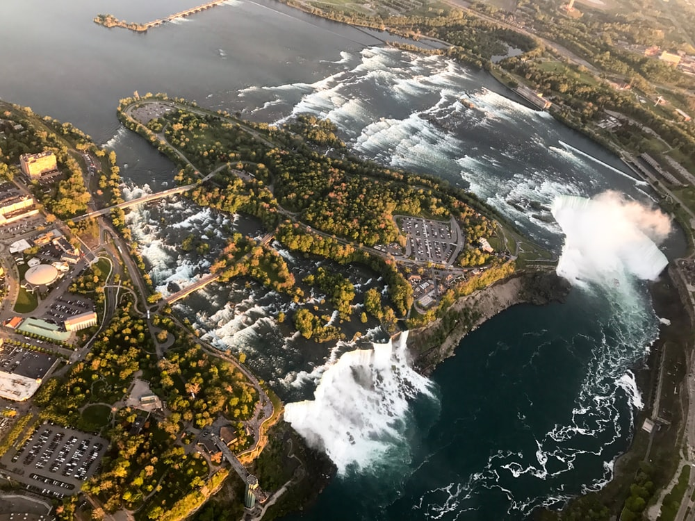 birdseye view photography of body of water