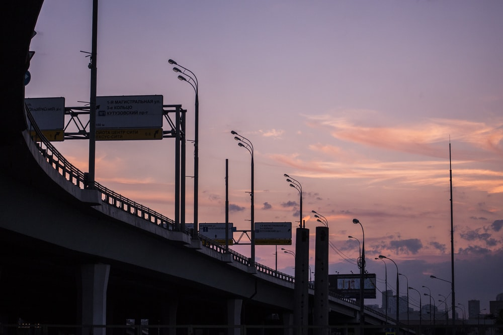 silhouette of skyway