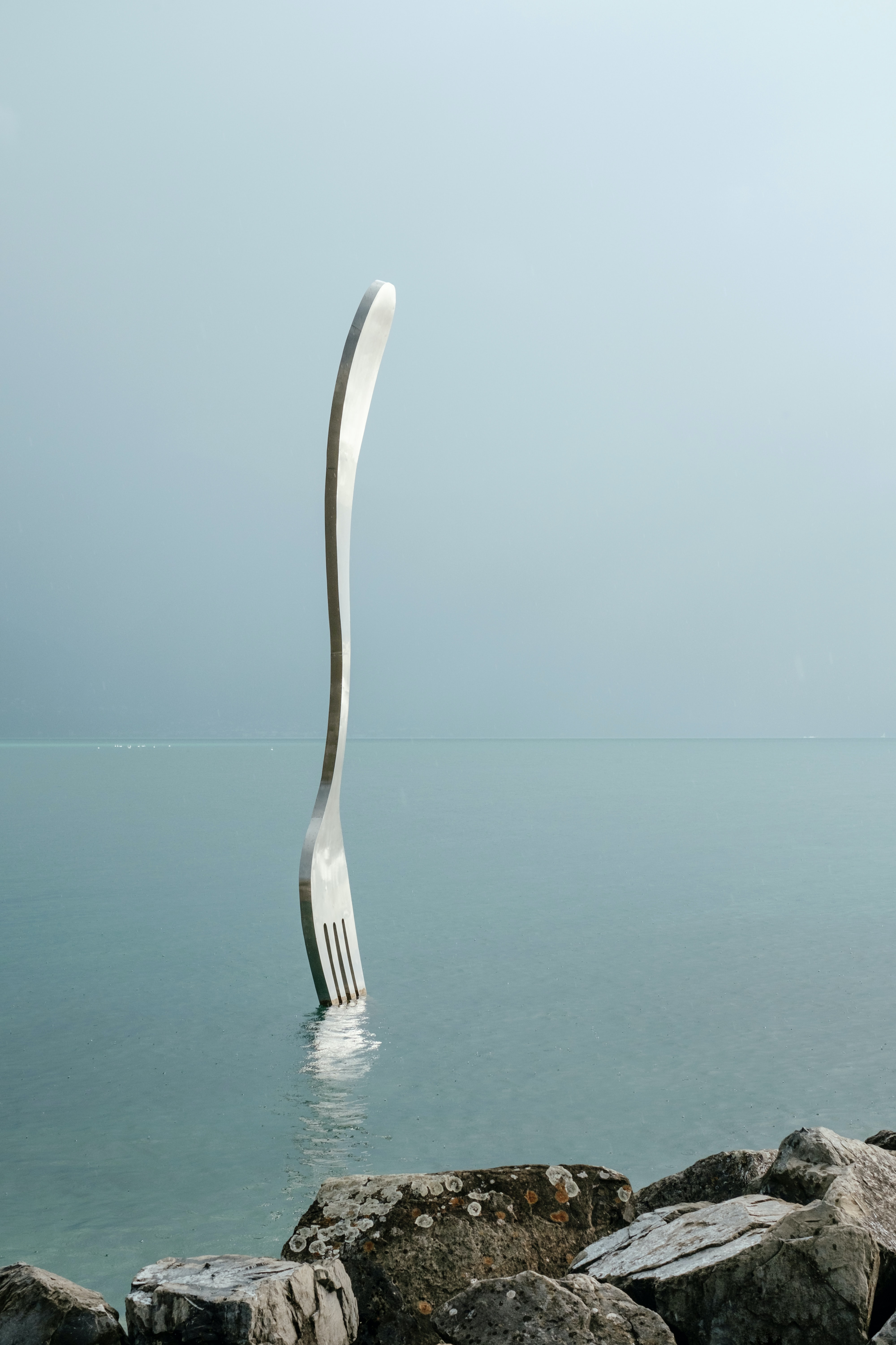 stainless steel fork on water