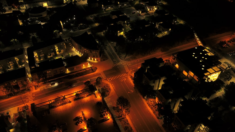 aerial photography of lights turned on at street and buildings at night