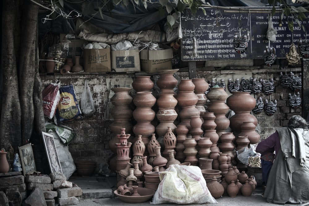 pile of brown clay pots