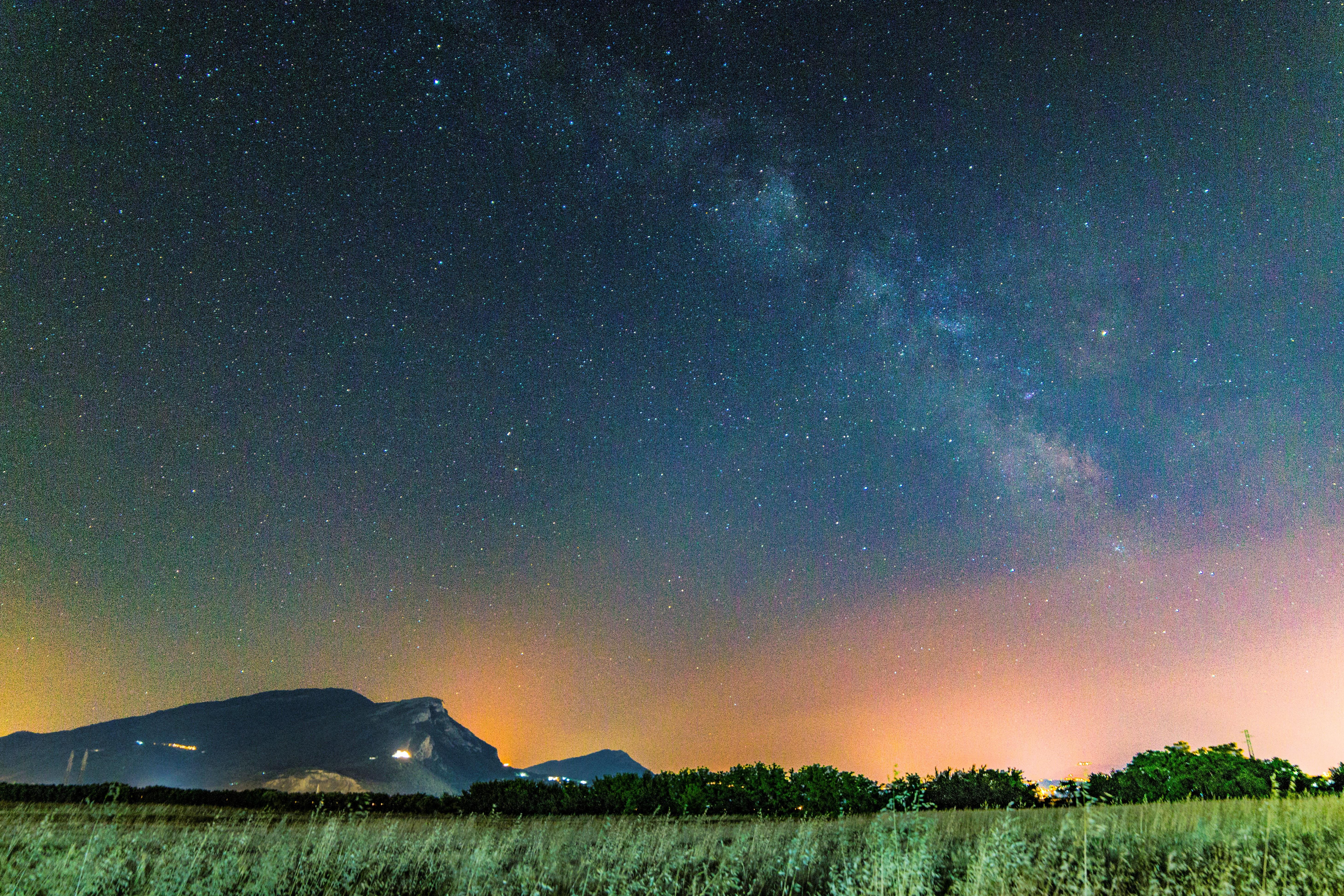 grass field under starry sky