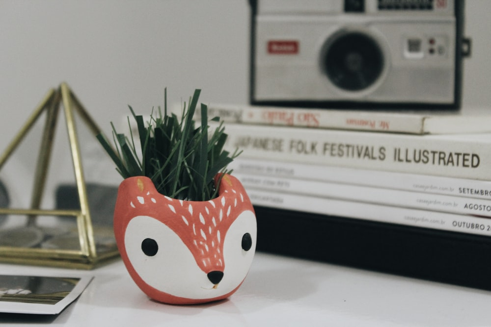 white and red fox plant pot