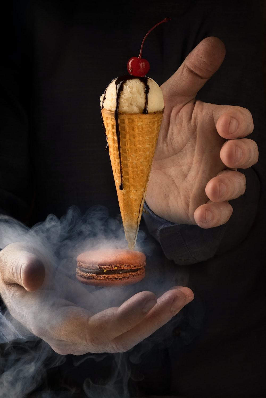 ice cream cone with chocolate cream