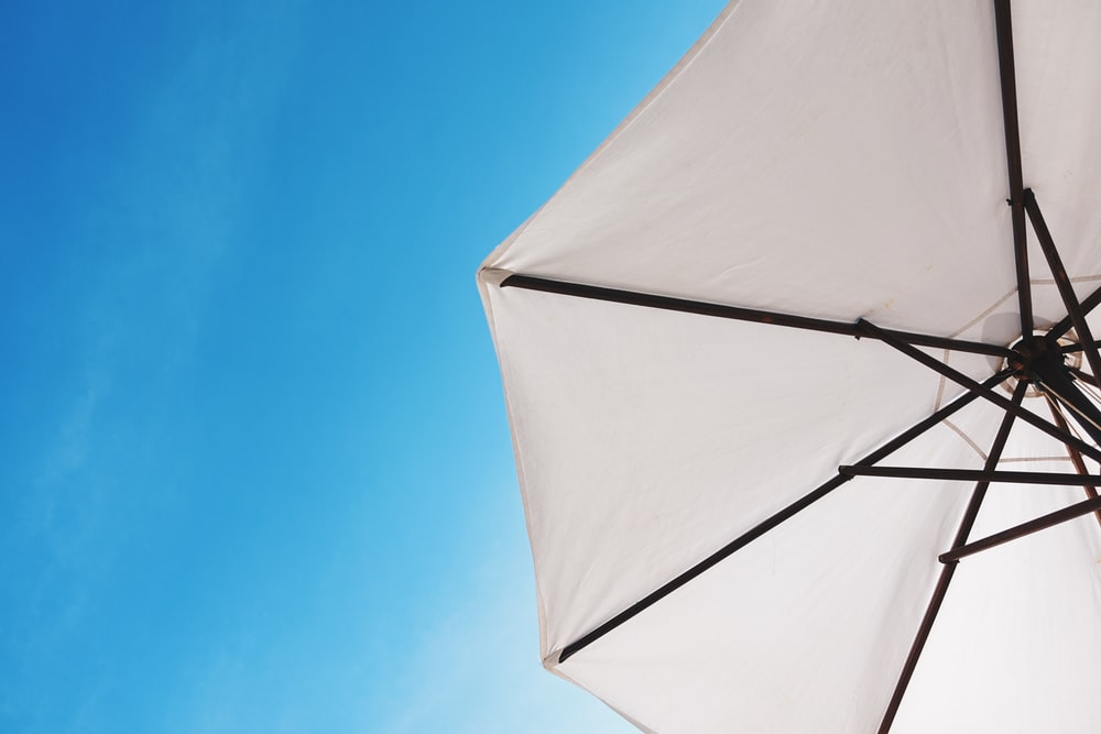 white patio umbrella