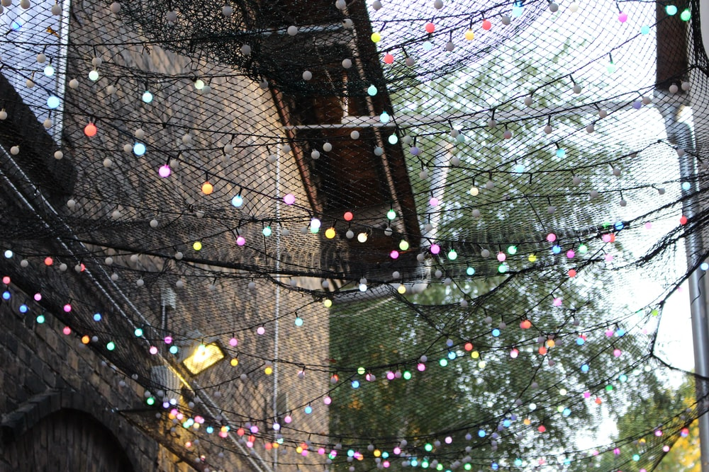string lights between brown houses during daytime