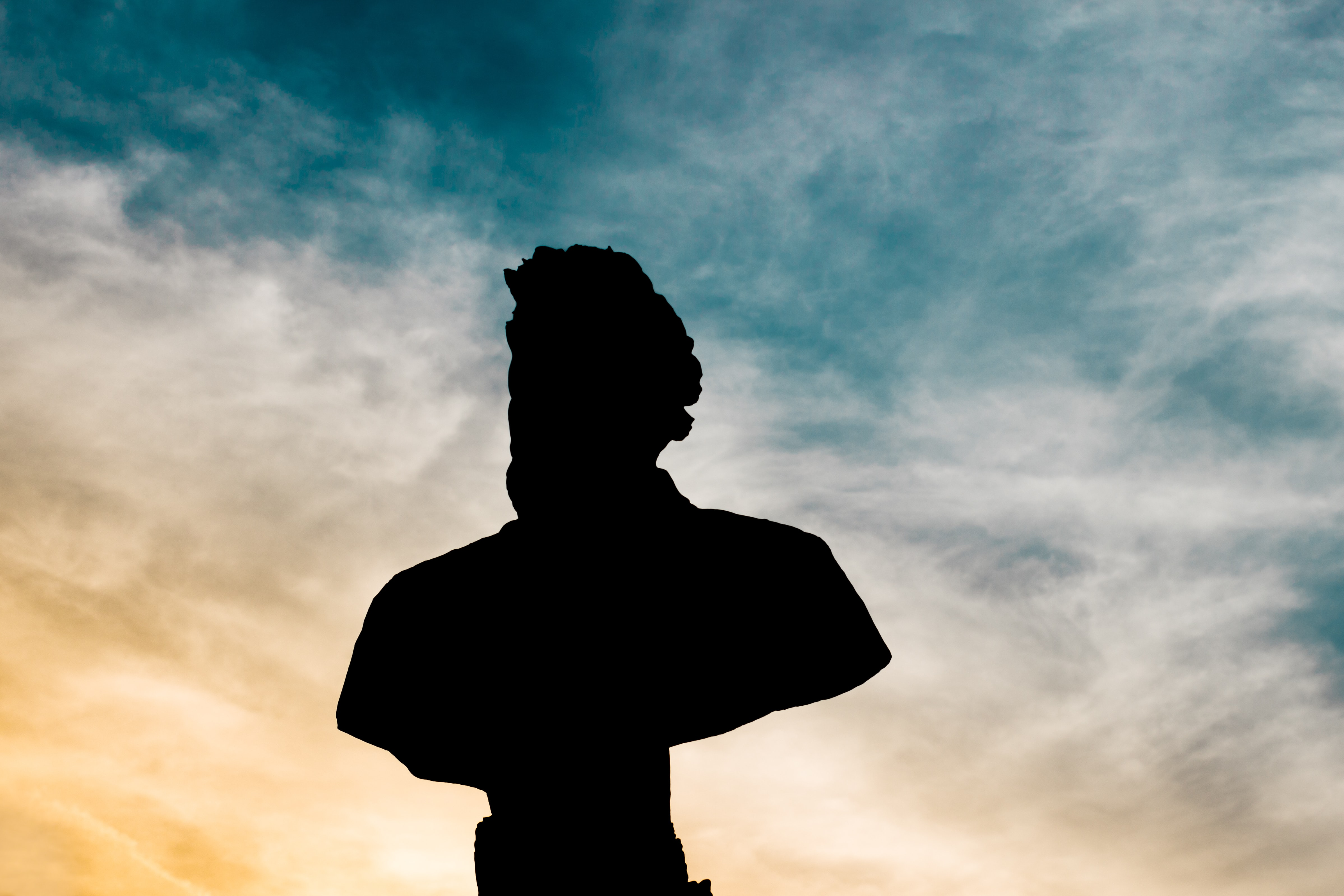 silhouette of statue bust of man under cloud sky during daytime