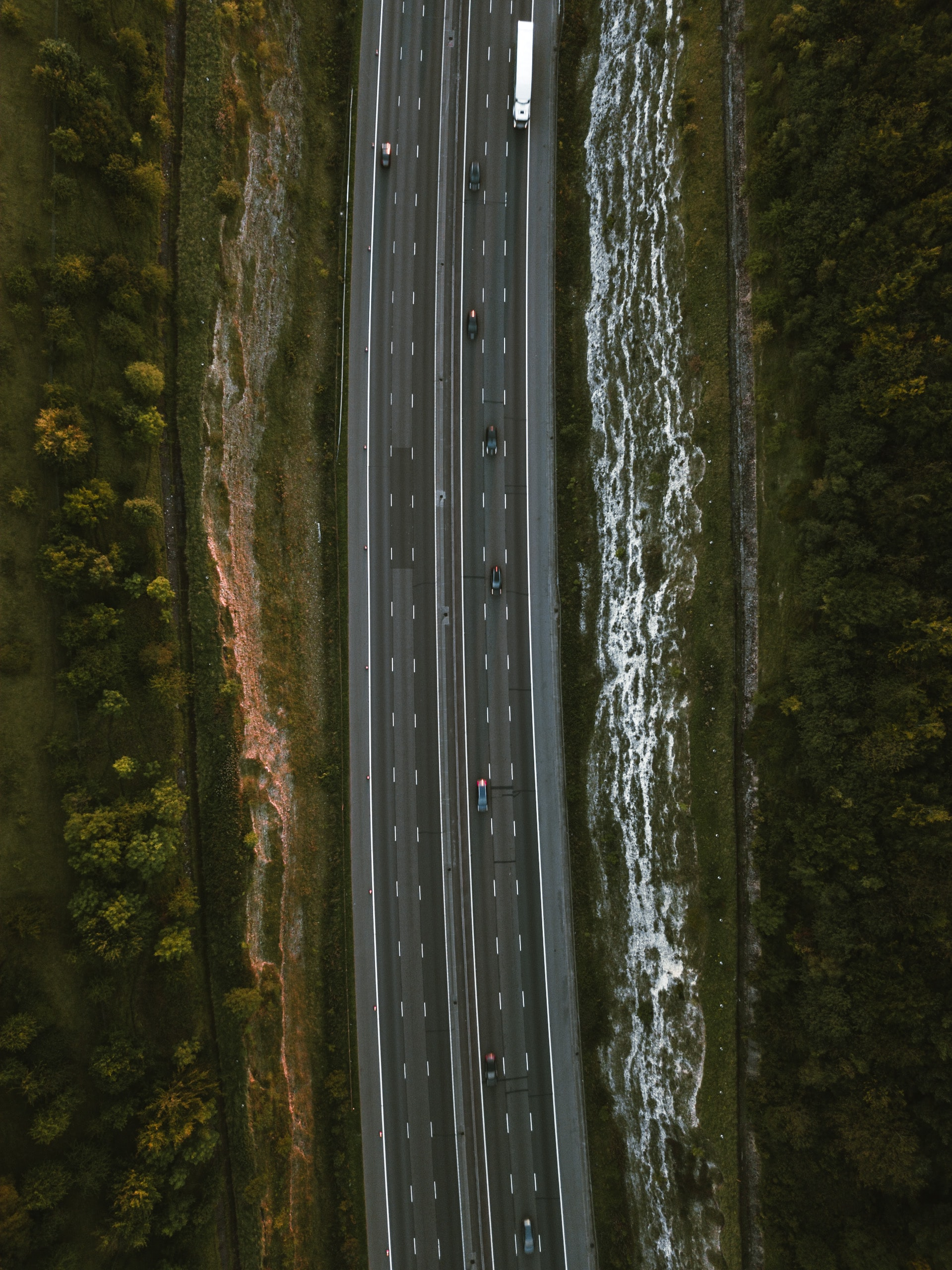 aerial photography of pavement road