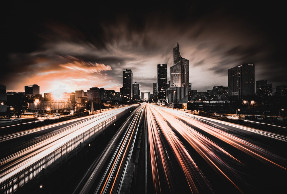 time-lapse photography of highway road