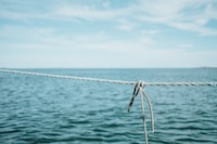 close-up photography of grey rope near body of water