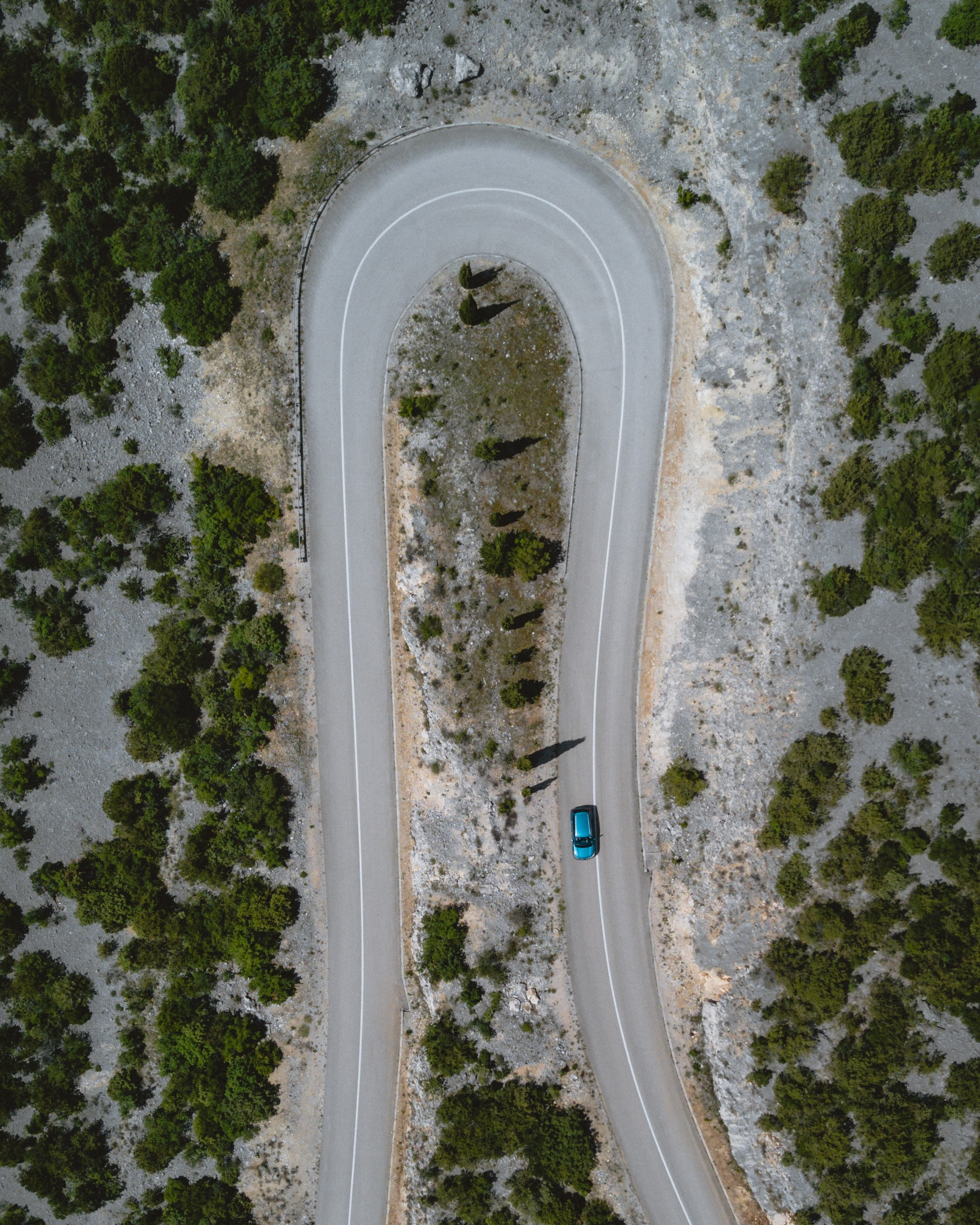 aerial view of car passing through road surrounded by trees