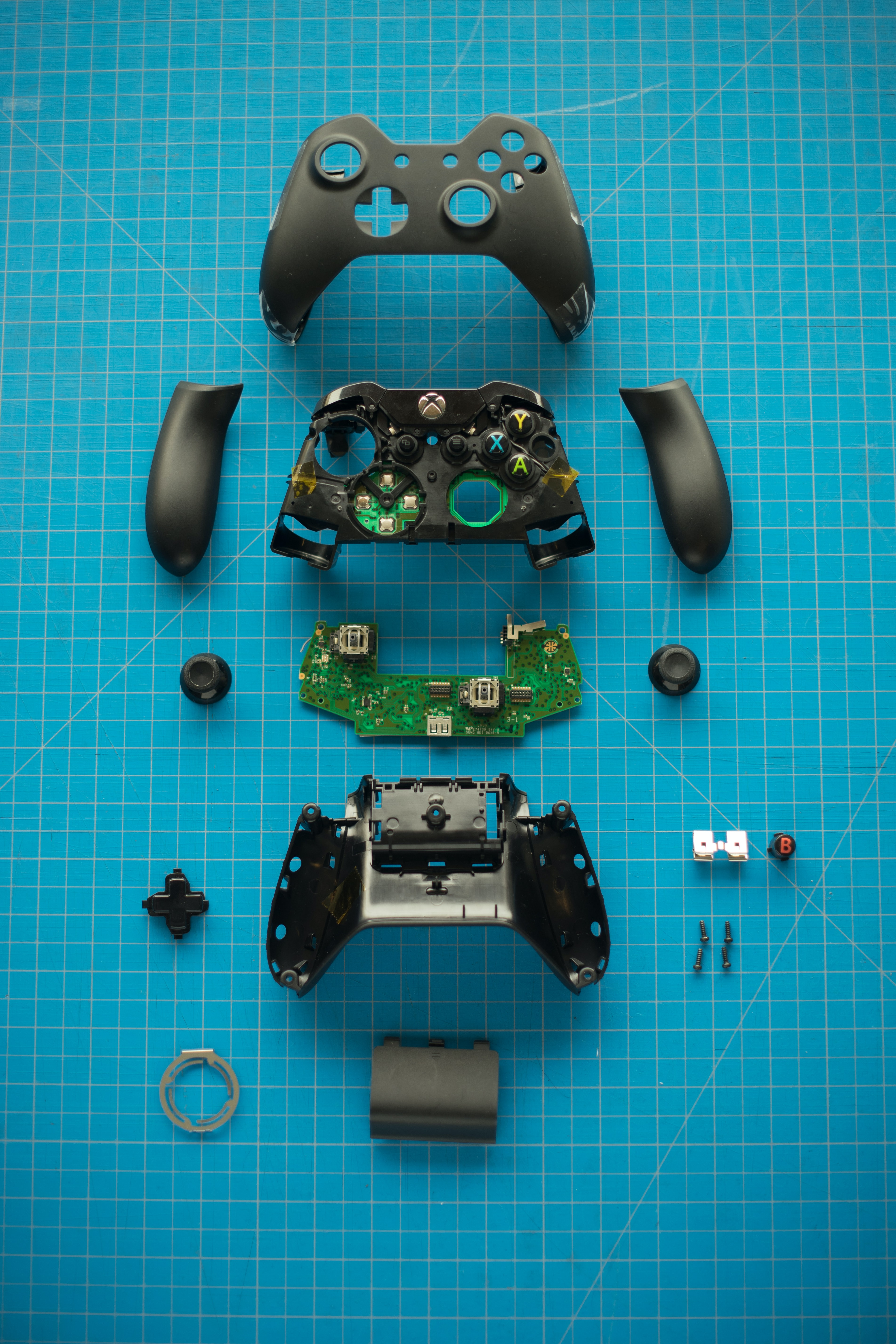 disassembled Xbox One controller