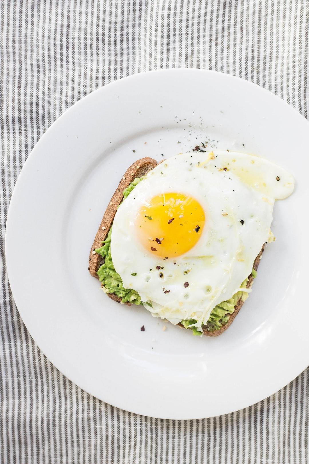 Egg on toast on plate
