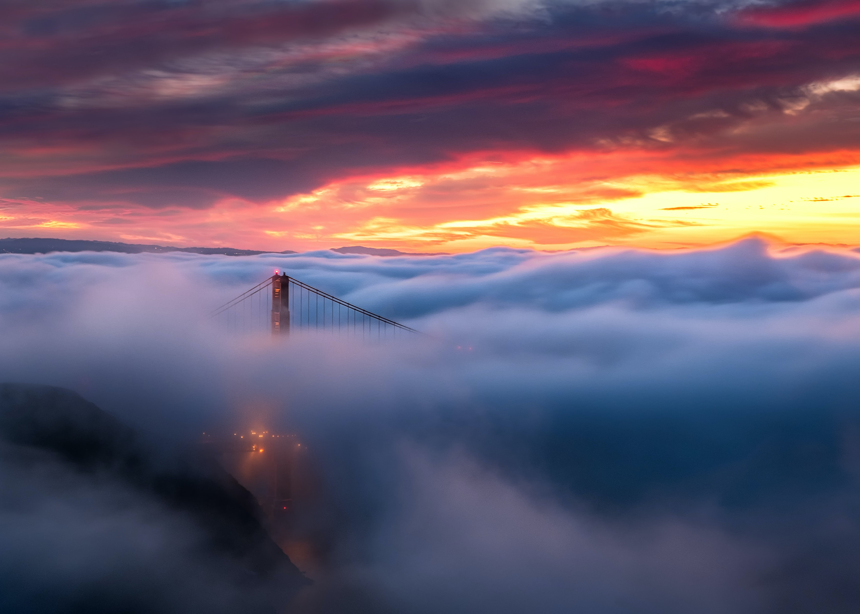 Golden Gate Bridge during golden hour