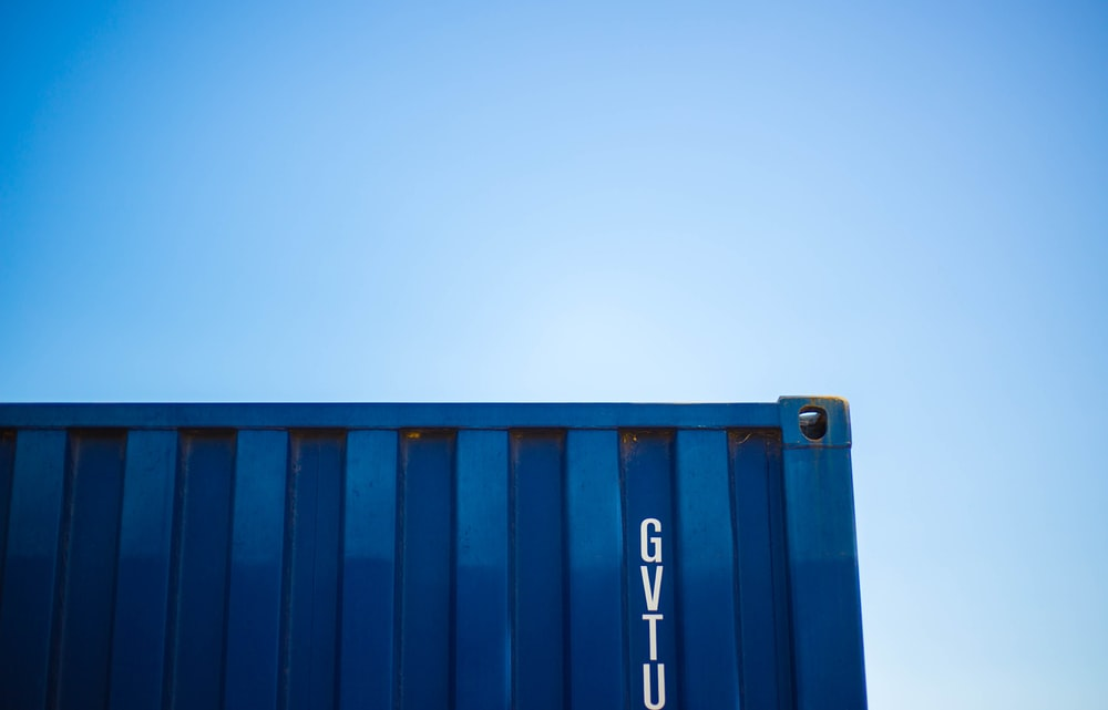 blue intermodal container