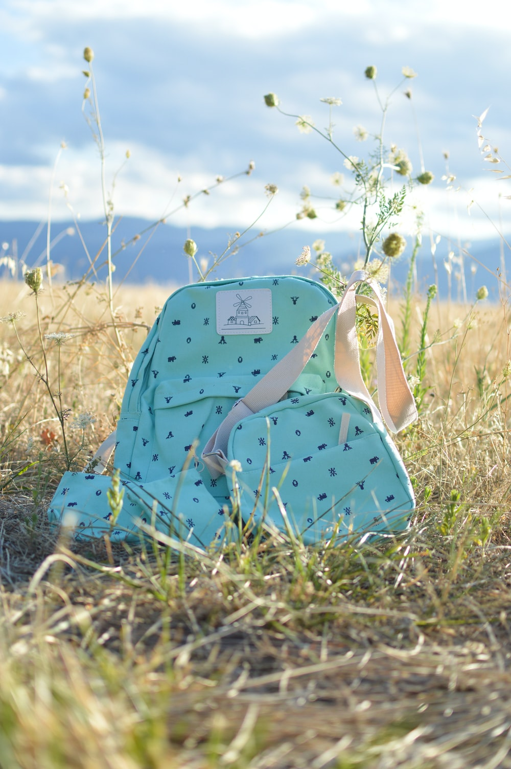 green leather backpack beside crossbody bag on grass field during daytime
