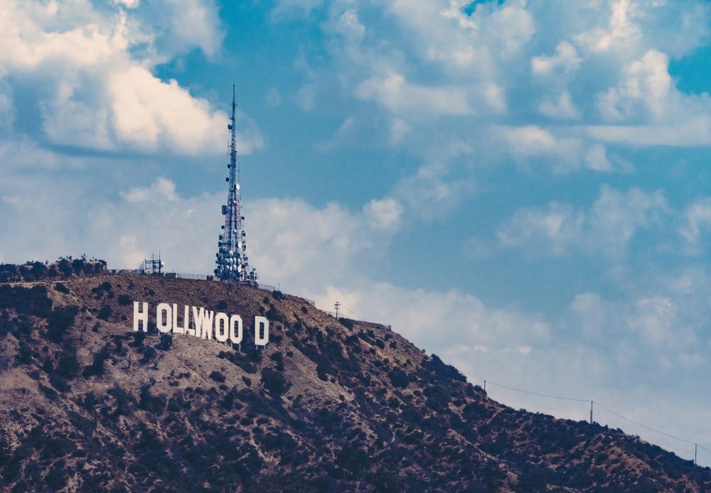 Hollywood logo under blue sky