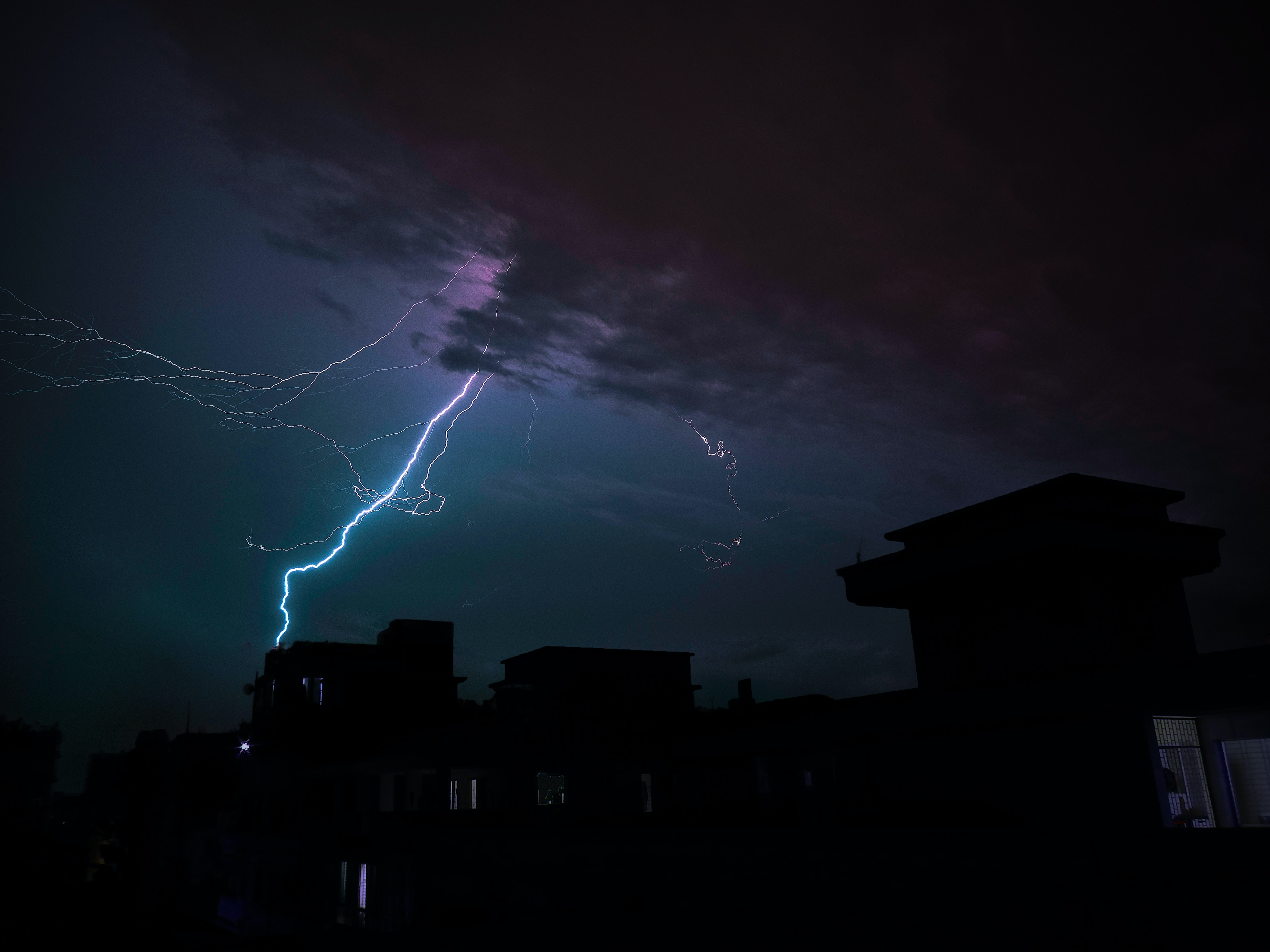 low light photography of thunder