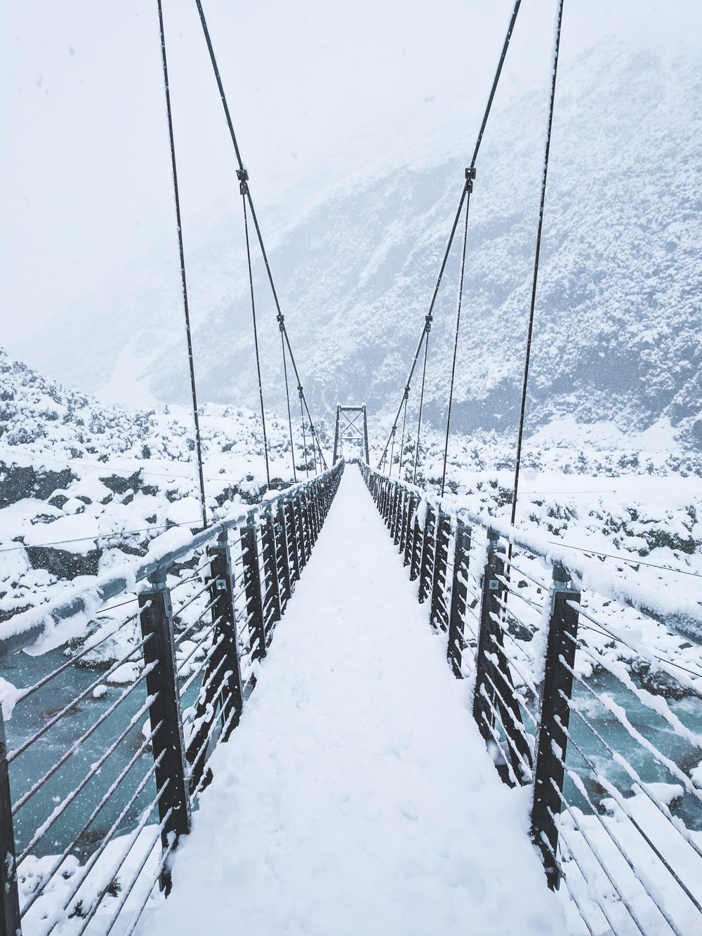 photo of bridge covered by snow