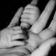 photo of baby holding person's fingers