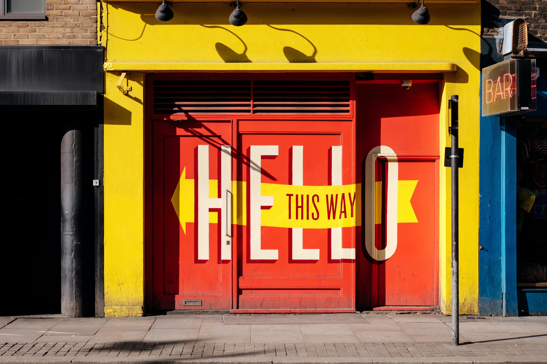 photo of orange Hello print gate