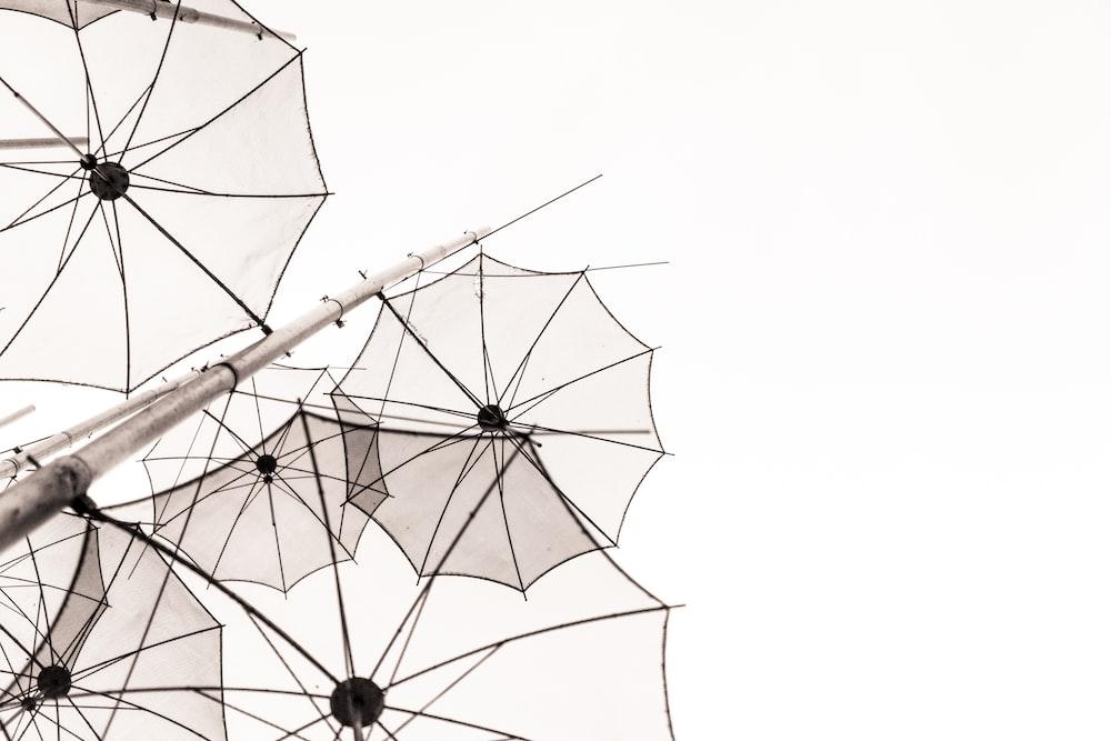 umbrellas outline under white sky at daytime