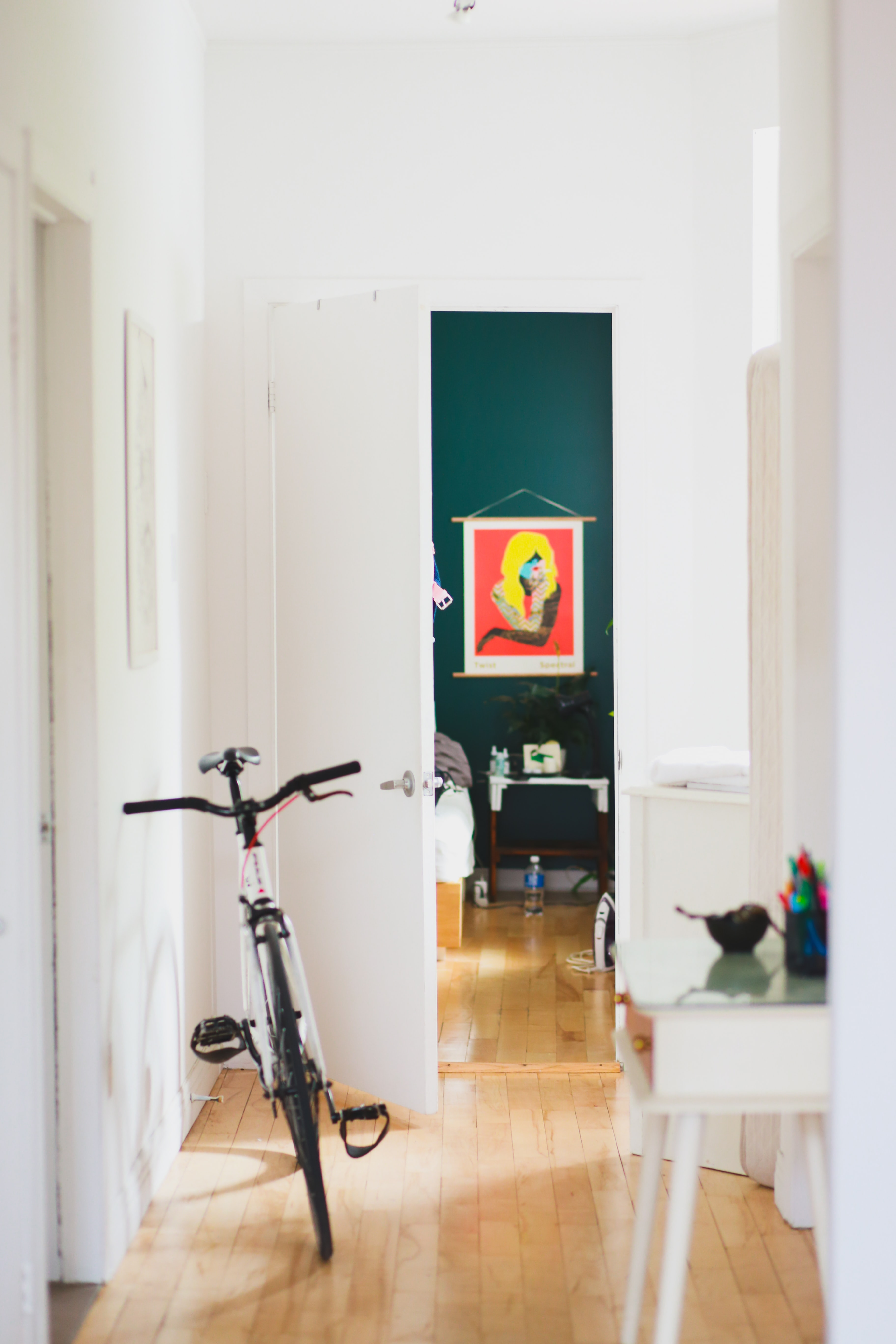 white bike parked in house