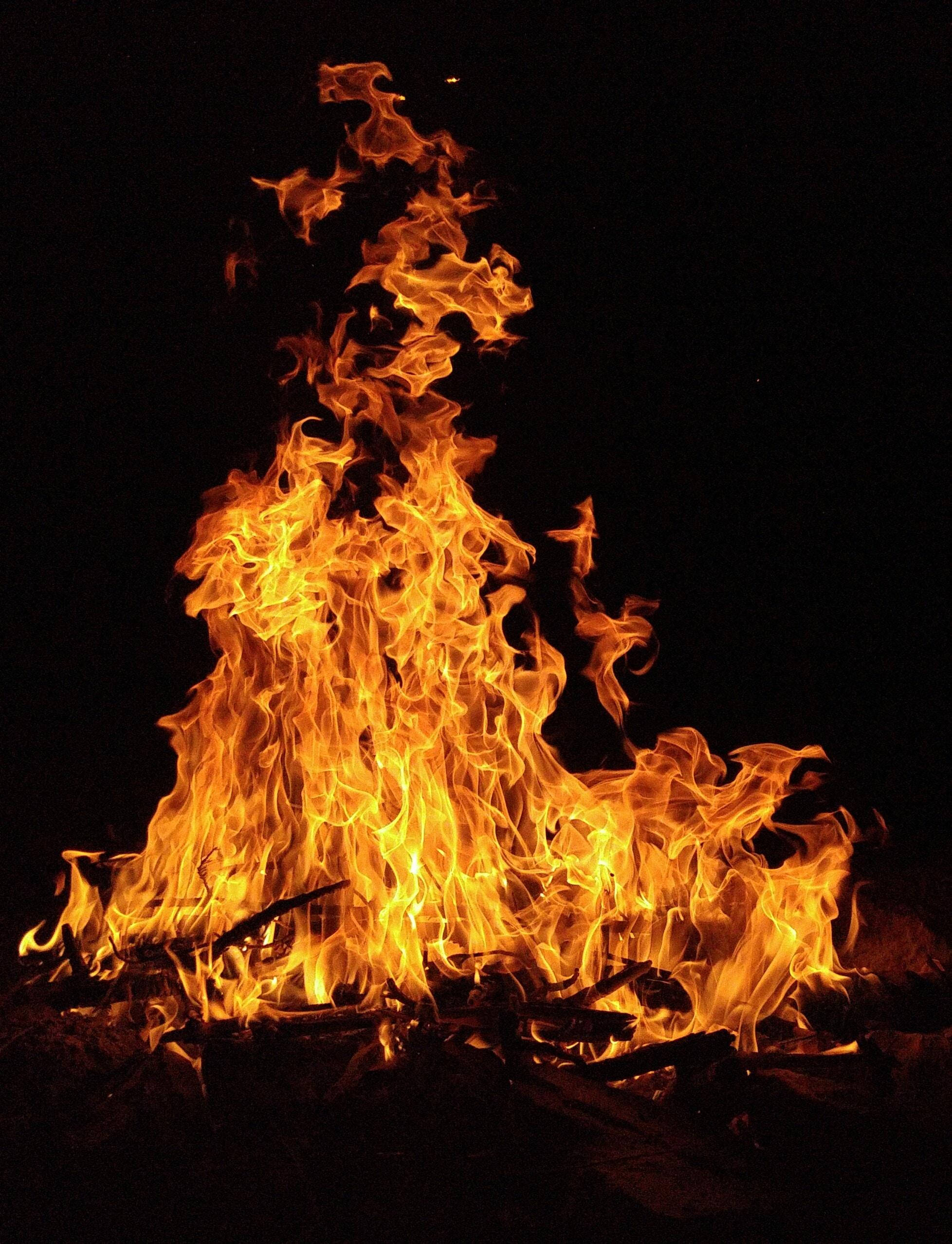 low light photography of bonfire