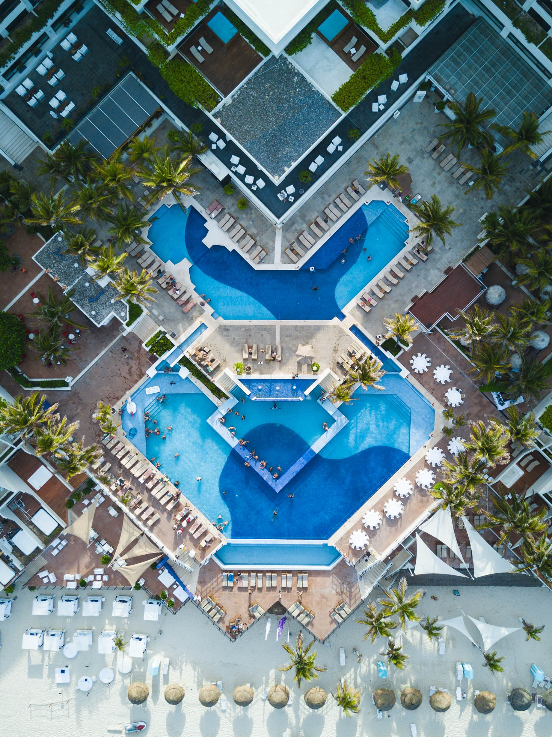 aerial view of swimming pool