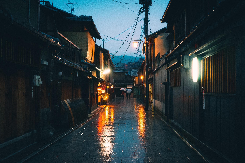 empty pathway between houses