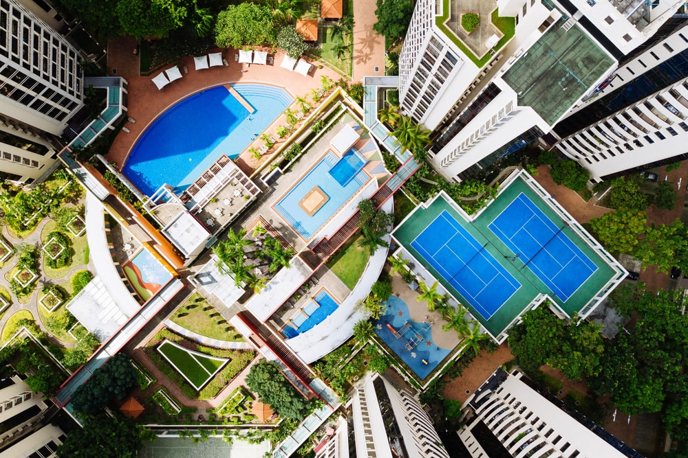 bird's-eye view photography of buildings