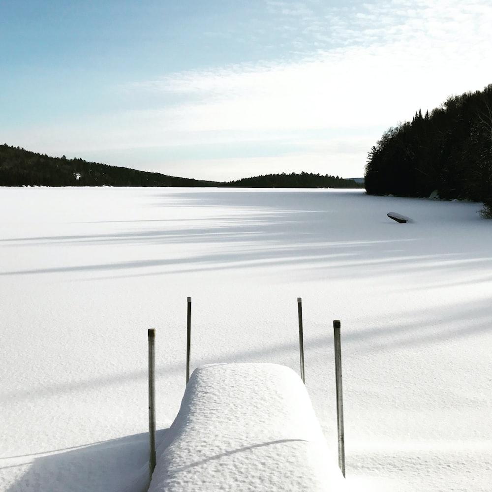 photo of snow coated dock near mountain
