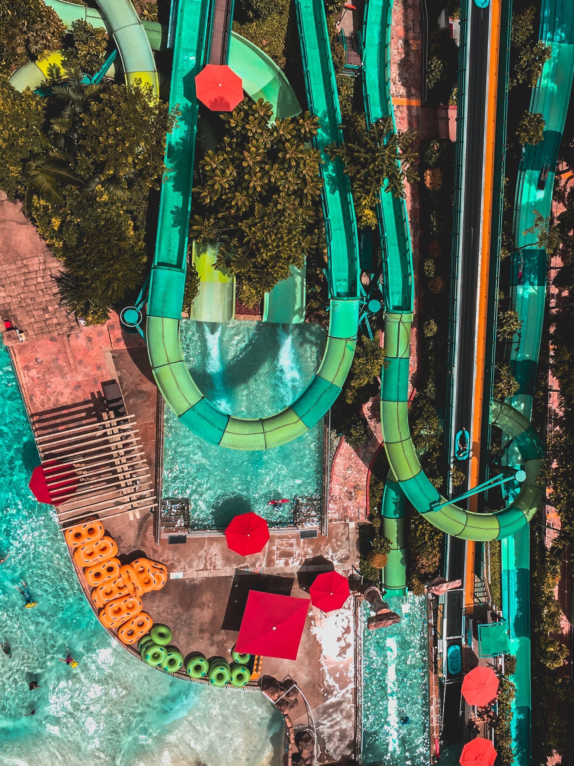 A view of a large waterslide from the sky.