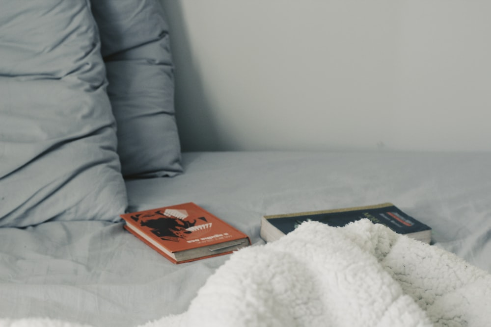 two novel books on bed