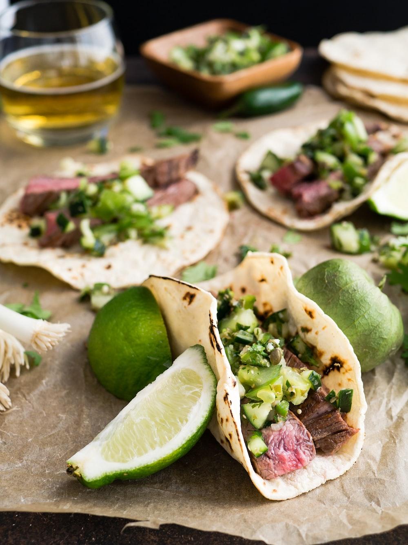 taco with beside sliced lemon