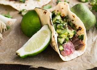 taco with beside sliced lemon
