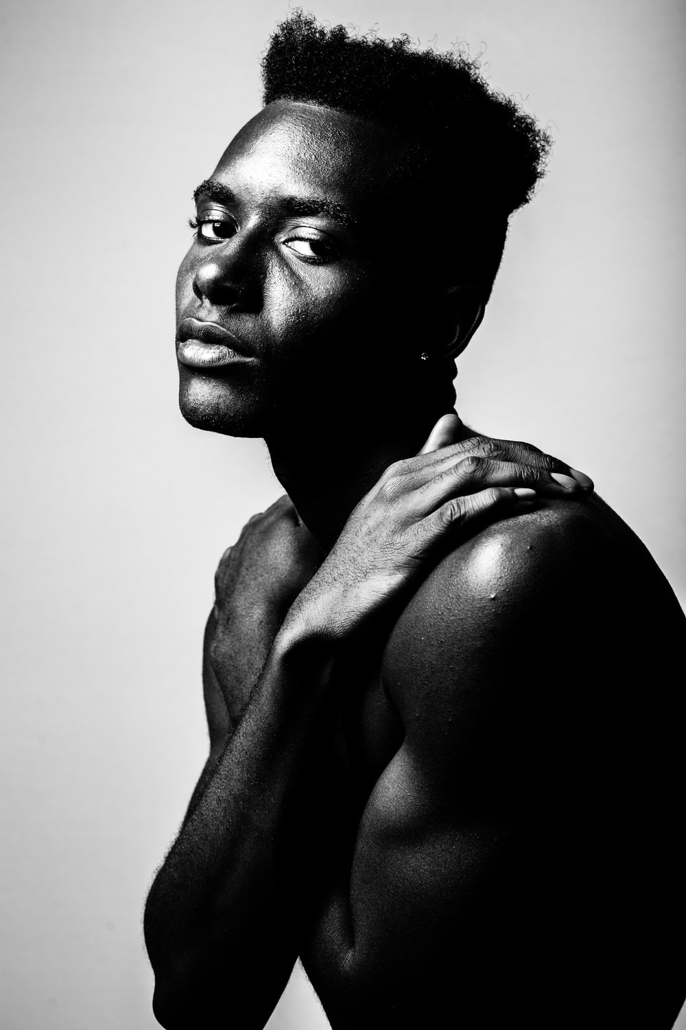 grayscale photography of man