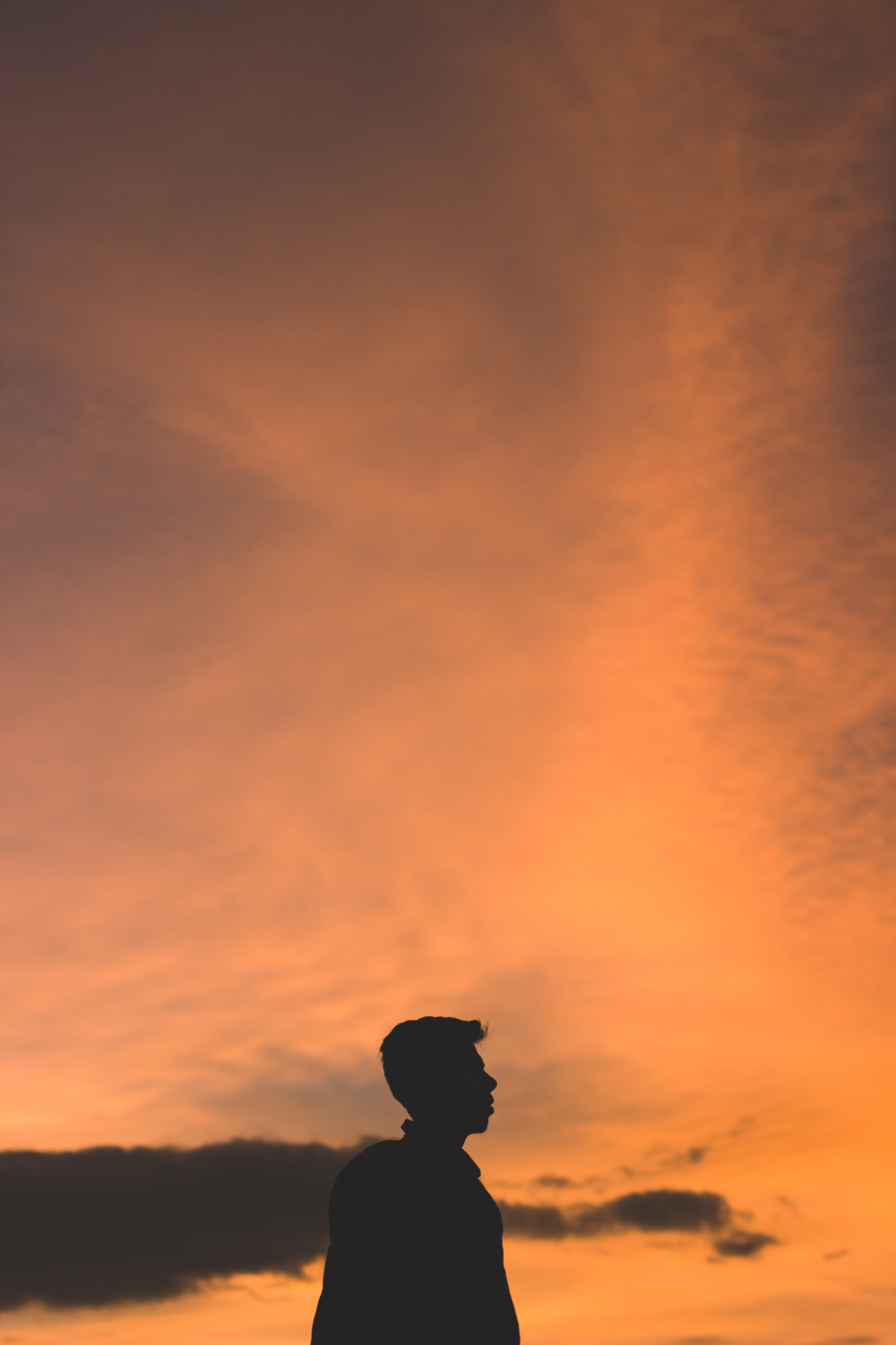 silhouette photo of man during golden hour