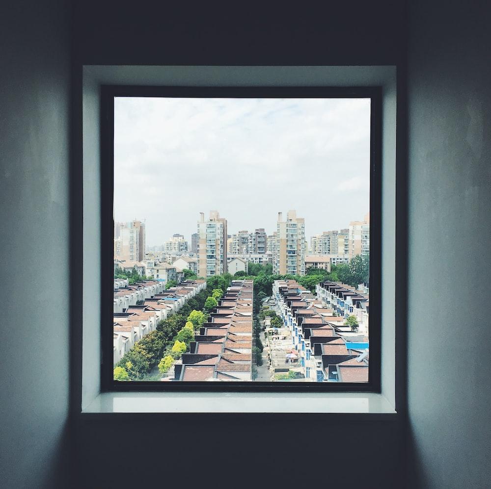 interior photography of opened window