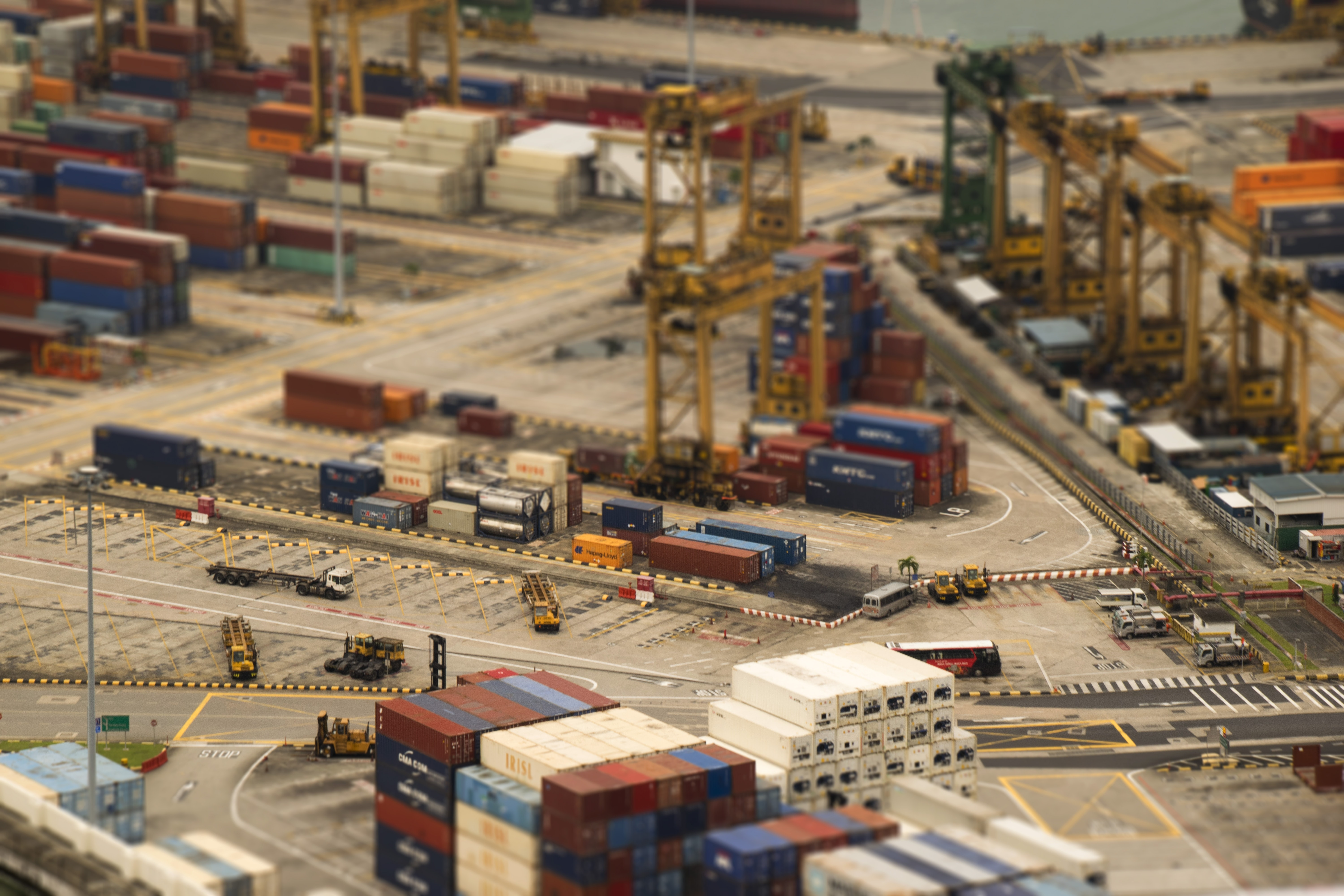 aerial photography of cargo yard
