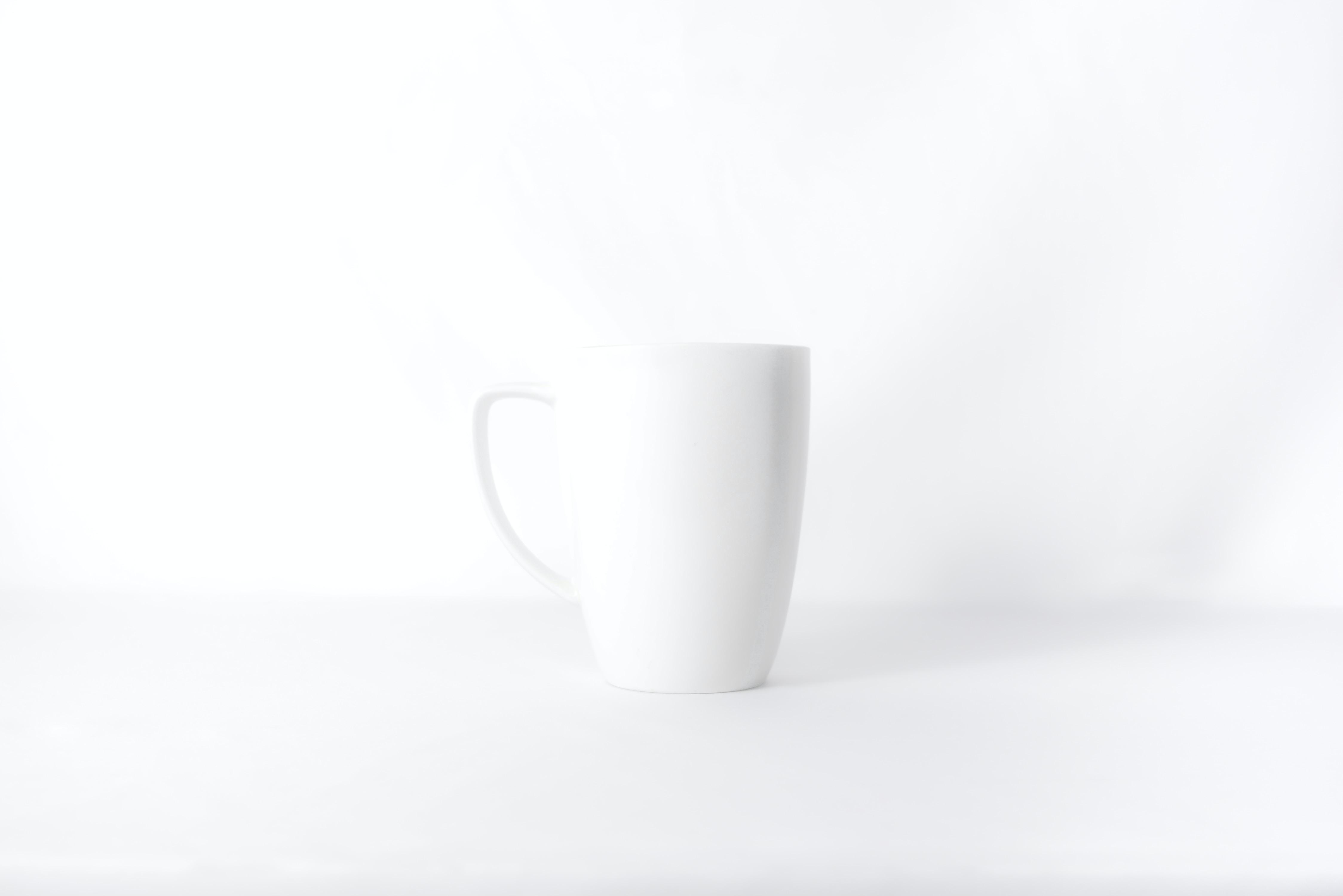 white mug against white background