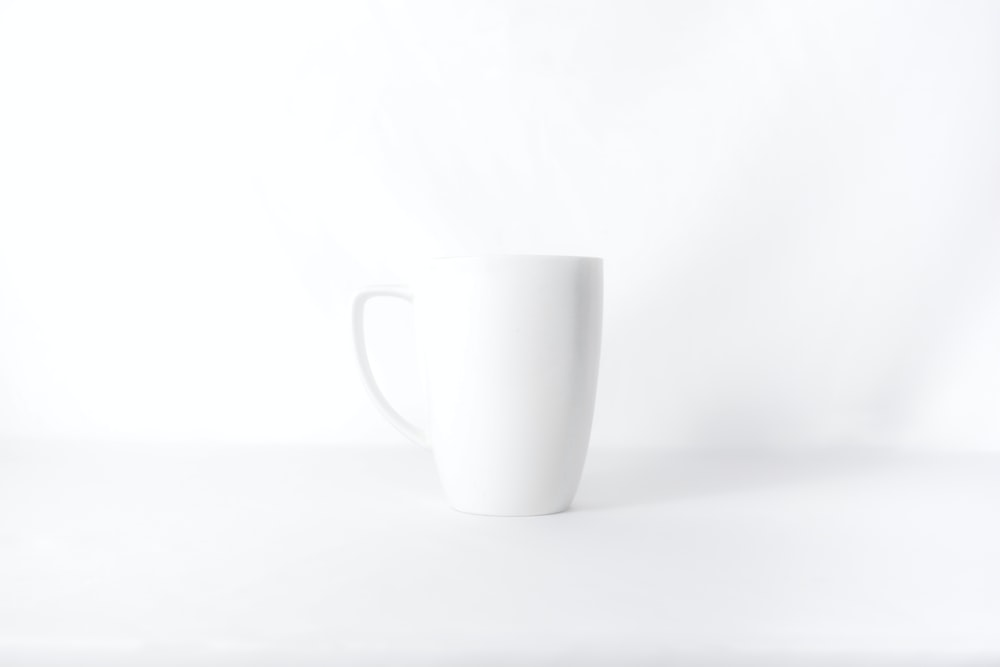 white mug against white background