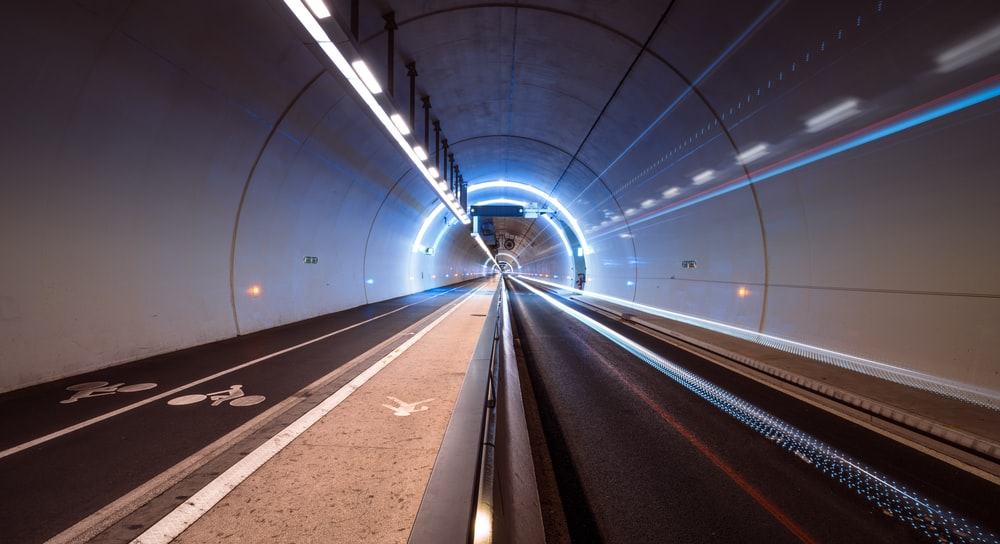 timelapse photo of tunnel
