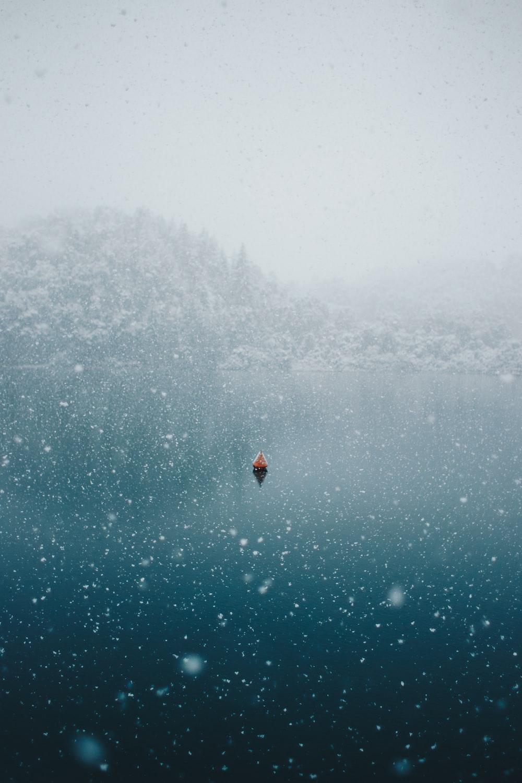 snow icy mountain lake